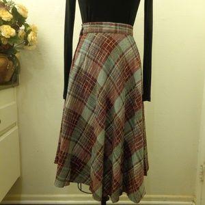 Vintage Plaid Wool Full Skirt